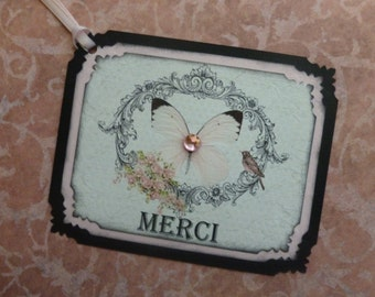 Merci tags, Shabby chic thank you, french themed, butterfly, black and pink, sparkly - set of 8