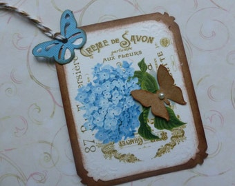 Blue hydrangea vintage style gift tags butterflies wedding wish tags favor tags any occasion tags floral tags garden themed tags - set of 4