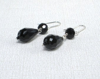 Black Silver Earrings Black Teardrop Earrings Black Crystal Earrings Jet Black Drops Black Sparkley Dangles Black Faceted Earring Rare Find