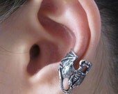 Dragon Ear Cuff Pewter - Dragon Ear Wrap Dragon Jewelry Non Pierced Earring Non Pierced Ear Cuff - Steampunk Jewelry Dragon Earring Earcuff