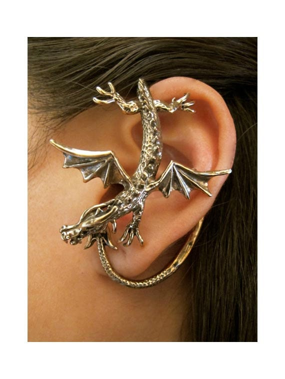 Items similar to dragon ear wrap bronze dragon ear cuff sentry dragon ear wrap dragon - Game of thrones dragon ear cuff ...