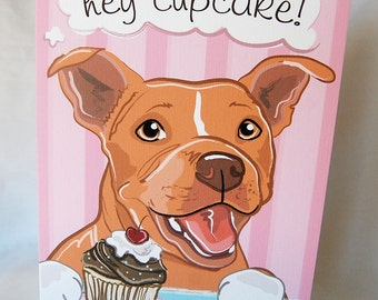 Red Pit Bull Cupcake Greeting Card