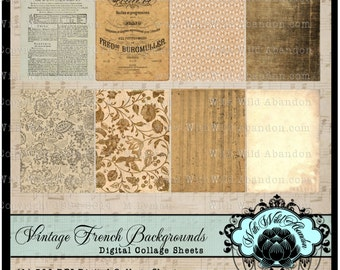 Vintage French Ephemera Backgrounds Digital Collage Sheet, ACEO, Digital Art, Hang Tags, Truth Cards, Book marks, or Wallet cards