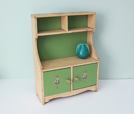 1930s Vintage Child S Doll Cupboard Toy Hutch With Two