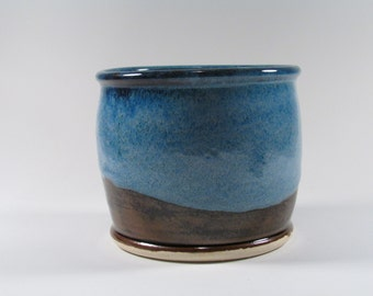 Ceramic Cup - Pencil cup - Blue Brown Organizer - Catch all Bowl - Wheel Thrown Stoneware Pottery