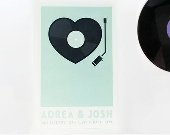 Wedding Poster - Custom Record Player Print