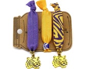 Tiger Paw Knotted Elastic Hair Tie Bracelet No Crease Ponytail Holder yellow gold purple gameday college chic sports accessories animal LSU