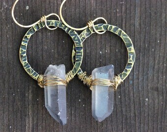 Raw Crystal Earrings Raw Quartz Crystal Earrings Hammered Brass Hoops Natural Stone Jewelry Bohemian Jewelry Bohemian Earrings Boho Earrings