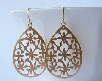 Large Gold Dangle Earrings