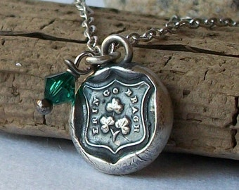 Erin Go Bragh Sterling Silver Charm Necklace