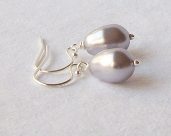 Lavender Lilac Pearl Earrings Bridesmaid Gift, Gifts under 20