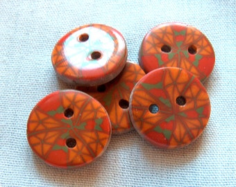 Kaleidoscope Red, Orange, Yellow and Green Buttons No. 87