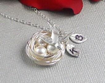 Bird Nest Necklace, Personalized, Personalized Jewelry, Bird Necklace, Hand Stamped Necklace, Silver Nest Necklace