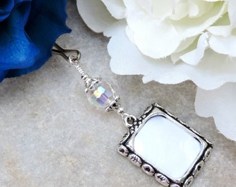 Photo charm w/crystal. Gift for the bride. Wedding bouquet photo charm. Bridal bouquet charm. Crystal Wedding keepsake. Bridesmaid gifts.