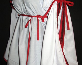 Odd Bodkin Split Sleeve Chemise White with Black/Red Knot Trim