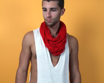 Red Scarf, Gift for Him, Gift for Boyfriend, Mens Gift, For Him, Long Necklace, Gift for Men, Hipster, Tribal, Festival, Gift idea