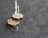 Gold Brass Dangle Drop Earrings Geometric Hexagon Textured Brass Sterling Silver Chain Tassel Grey Oxidized Patina Shoulder Dusters