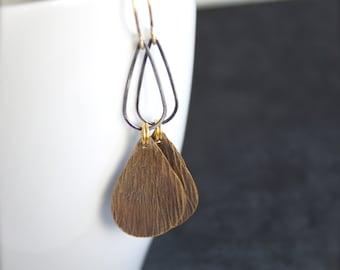 Sterling Silver Drop Dangle Earrings - Rustic Dark Grey Oxidized Patina, Textured Gold Brass Teardrop, Mixed Metal Boho Jewellery