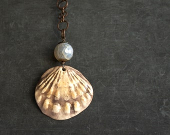 Light Blue Brown Agate Stone Pendant Necklace Ceramic Sea Shell Wire Wrap Beach Ocean Summer Boho Jewellery
