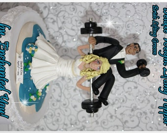 Weight Lifting Bride with Groom on Barbells, Dumbbells, Wedding Cake Topper, Personalized