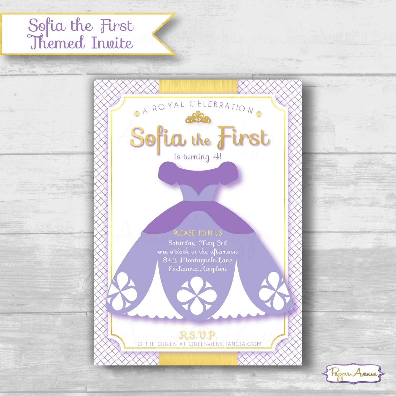 Sofia The First Themed Birthday Invitation Purple Princess
