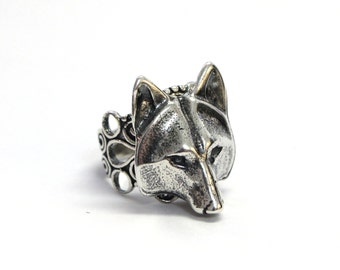 Wolf Ring Silver Wolf Head Adjustable Ring Filigree Wolf Mask Ring 059