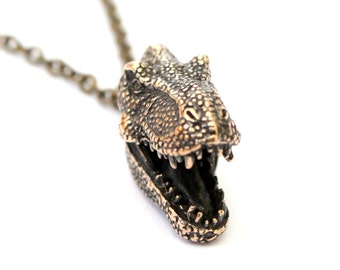 Two for One Sale....T-Rex Head Pendant Necklace in Solid Jewellers Bronze Tyrannosaurus Rex Dinosaur 359