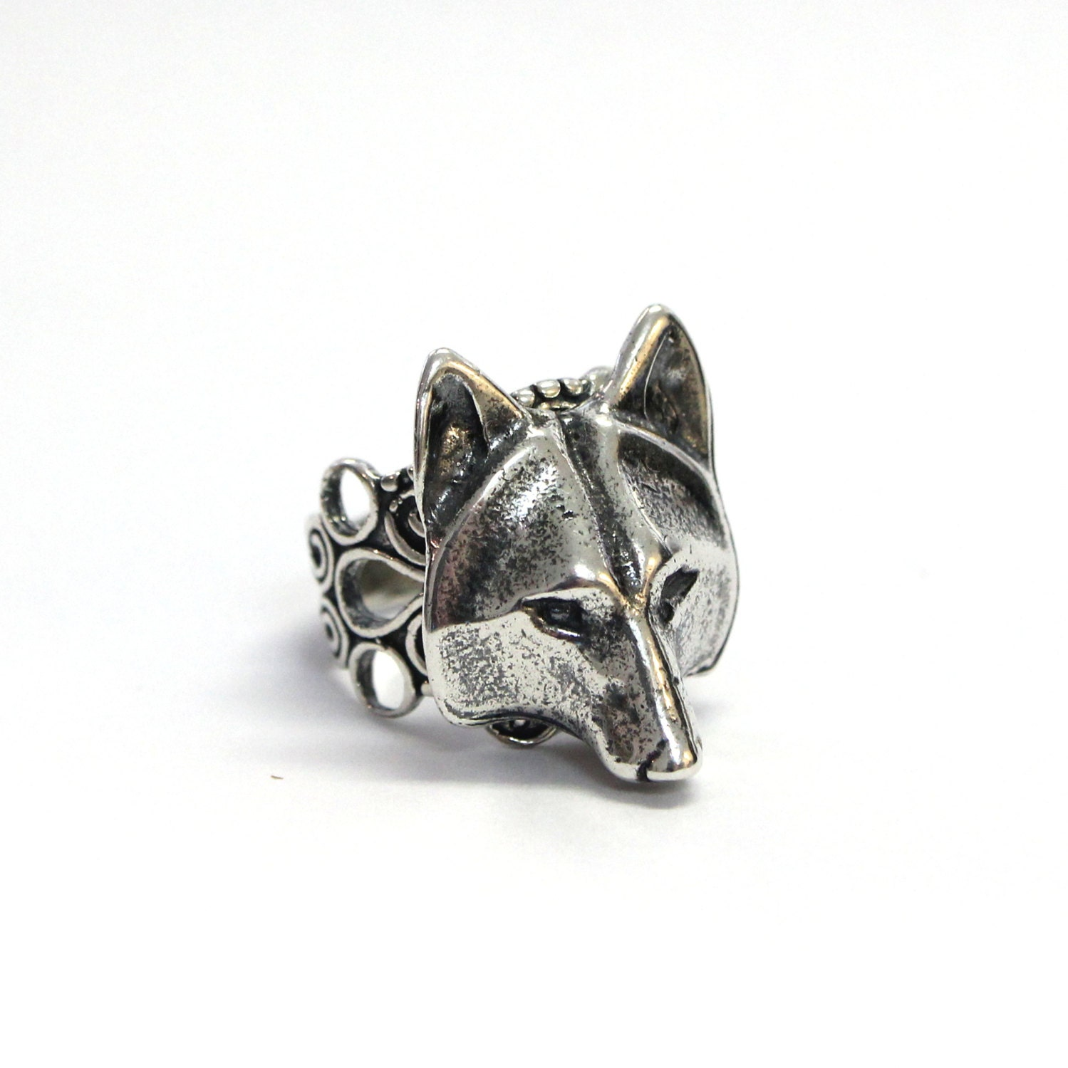 wolf ring silver wolf adjustable ring filigree wolf mask