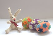 Felted wool Easter eggs or balls ornaments bright spring home decor wool handmade table decoration gift for Mother flower yellow pink