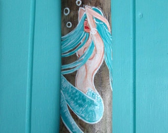 Turquoise Fantasy Mermaid/ Blue Fantasy Mermaid hand painted on drift wood - beach house decor