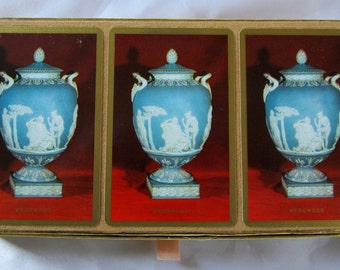 Wedgwood Playing Cards Congress Triple Deck Samba Three Pack Canasta Sealed Stamp Blue Vase Vintage DDB7