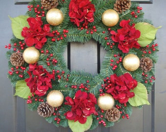 Christmas Wreath, Holiday Home Decor, Christmas Wreath for Door, Ornament Wreath