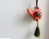 Elephant Keychain, Orange Elephant Key chain, fabric elephant, fabric keychain, bag decoration, plush elephant, fringe, colorful, children