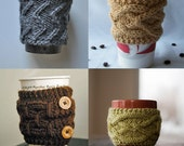 3 Patterns - Zig Zag Cup Cozy, Hermine Cup Cozy &  Arthur Cup Cozy -/ Digital PDF Knitting Patterns