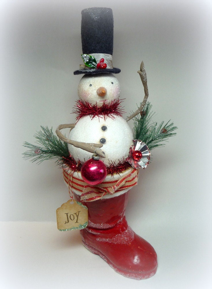 holiday decor vintage style large snowman in antique santa