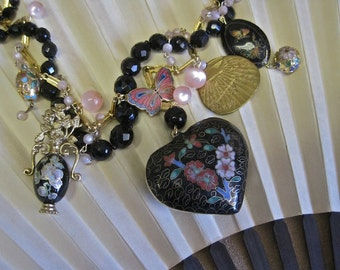 Madame Butterfly's Garden Redux: Asian Necklace Vintage Assemblage Cloisonne Heart Ming Vase Butterfly Fan Floral Statement One of a Kind