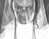 Chain Headband/Tiara with Skulls & Long Chain Dangles