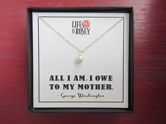 Gift for Mother - Gift for Mom - Mother Necklace with Handwrapped Swarovski Pearl and Boxed Card - Quote Card