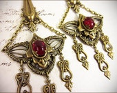 Renaissance Earrings, Chandelier Earrings, Ruby, Red Earrings, Medieval Jewelry, Tudor, Garb, Spike Jewelry, Ren Faire, Your Choice of Color