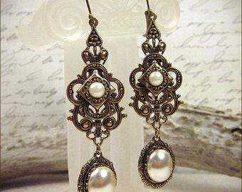 Renaissance Jewelry, Ivory Cream Pearl Renaissance Jewel Earrings, Medieval, Borgias, SCA, Tudor Medieval Chandelier Earrings, Avalon