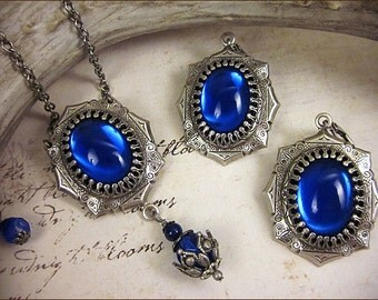 Sapphire Renaissance Necklace, Blue Earrings, Medieval Jewel Pendant, Garb, Tudor Jewelry, Bridesmaid, Wedding, Costume Set, MedCol