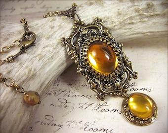 Medieval, Renaissance Necklace, Topaz Jewel, Medieval Pendant, Tudor Bride, Medieval Necklace, Tudor Costume Tudor Necklace, Ready to Ship