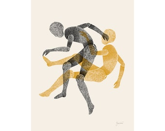 Figure Art, Abstract Art Print, Mid Century Modern, Living Room Art, Figurative Art