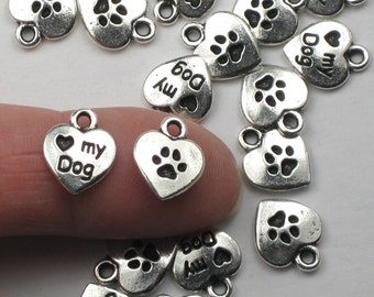 Silver Love my Dog Heart Charms, Antiqued Silver Plated Pewter, TierraCast Puppy Love Paw Print Devoted Pet Lovers Shelter Dogs