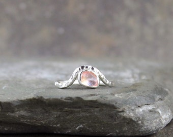 Pink Sapphire Ring - Sterling Silver Wave Ring - Rose Cut Sapphire Rings - September Birthstone - Modern Engagement Rings - Pink Gemstone