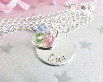 Personalized Sterling Silver Hand Stamped Oma Necklace.  Keepsake Grandma Pendant. Grandchildren's Birthstones in Swarovski Crystal.
