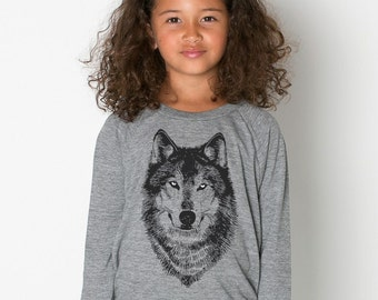 Wolf Shirt, Kid's Grey Wolf Raglan Children's clothing wolf t-shirt Spirit Animal tshirt woodland screen print toddler shirt werewolf wolves