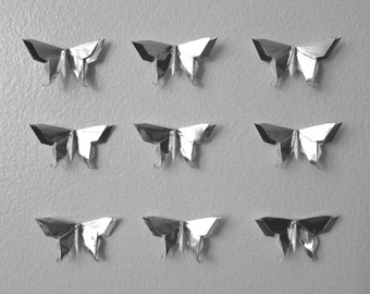 10 or 20 Origami 3D Swallowtail Butterflies in Metallic Silver Paper - Different Sizes Available