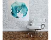 Fluid by Julie Tillman. Large, contemporary, modern, abstract art for home decor. Office decor. watercolor style original wall art