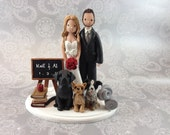 Bride And Groom with Dogs Customized Wedding Cake Topper